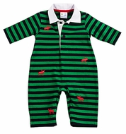 Florence Eiseman Baby Boys Navy / Green Stripes Red Christmas Moose Embroidery Romper
