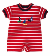 Florence Eiseman Baby Boys Red Striped Knit Romper with Sailboats
