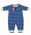 Florence Eiseman Baby Boys Royal Blue Stripe Knit Romper with Tools