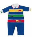 Florence Eiseman Baby Boys Royal Blue / Green / Red Longall - Applique Vehicles