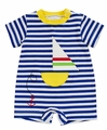 Florence Eiseman Baby Boys Royal Blue Striped  Romper - Big Sailboat