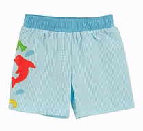 Florence Eiseman Baby Boys Turquoise Check Frog / Octopus / Dolphin Swim Trunks