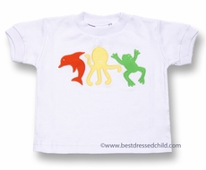 Florence Eiseman Baby Boys White Shirt - Dolphin / Octopus / Frog