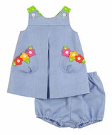 Florence Eiseman Baby Girls Blue Pincord Lime Pops Bloomers Set