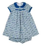 Florence Eiseman Baby Girls Blue Tiny Floral Dress with Bloomers