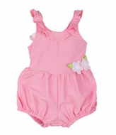 Florence Eiseman Baby Girls Bubblegum Pink Bubble Bathing Suit with Back Bow
