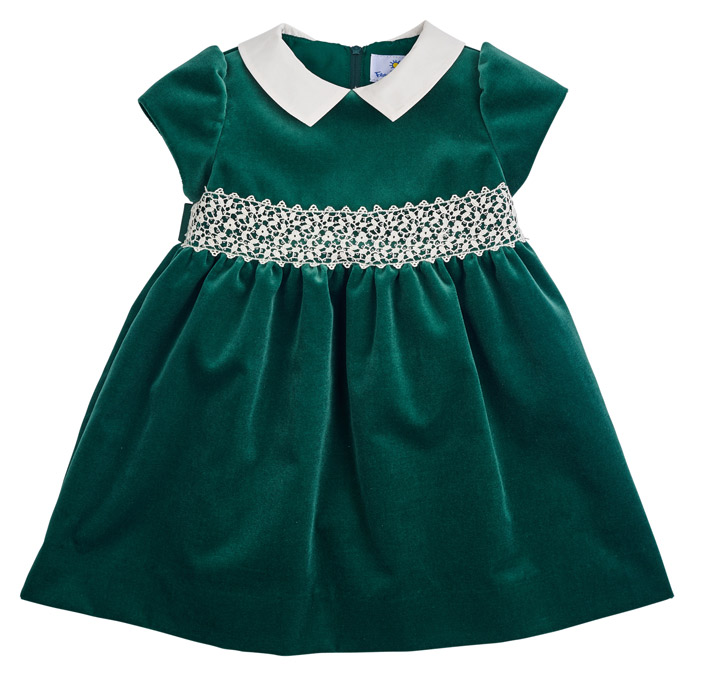 Florence Eiseman Girls Emerald Green Velvet Holiday Dress