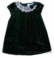 Florence Eiseman Baby Girls Emerald Green Velvet Holiday Dress with Lace Collar