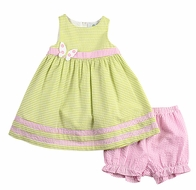 Florence Eiseman Baby Girls Green Seersucker Butterfly Dress with Pink Bloomers
