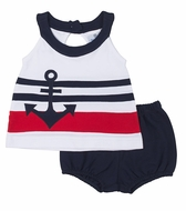 Florence Eiseman Baby Girls Navy Blue / White Pique Knit Anchor Bloomers Set
