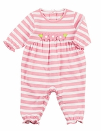 Florence Eiseman Baby Girls Pink Striped Flowers Romper