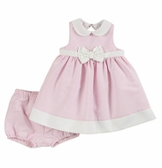 Florence Eiseman Baby Girls Pink / White Ottoman Sleeveless Dress with Bloomers