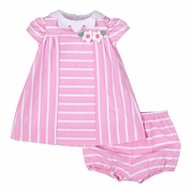 Florence Eiseman Baby Girls Pink / White Striped Dress - Scallop Collar & Bloomers
