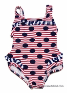 Florence Eiseman Baby Girls Red / White Striped with Navy Blue Circles - One Piece - Swimsuit