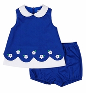 Florence Eiseman Baby Girls Royal Blue Pique Scallop Dress & Bloomers