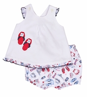 Florence Eiseman Baby Girls White Pique / Blue / Red Beach Flip Flops Bloomers Set