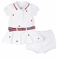 Florence Eiseman Baby Girls White Pique Knit Polo Dress with Embroidery Ladybugs & Bloomers