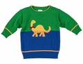 Florence Eiseman Baby / Toddler Boys Royal Blue / Green Intarsia Dinosaur Sweater
