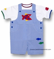 Florence Eiseman Baby / Toddler Boys Blue Junior Pincord Shortall with Red Piranha Fish Applique and Tipped Shirt