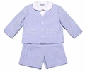 Florence Eiseman Baby / Toddler Boys Blue Ottoman Seersucker Three Piece Eton Suit - Dressy Easter Suits