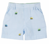 Florence Eiseman Baby / Toddler Boys Blue Seersucker Shorts with Embroidered Trains