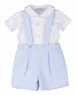 Florence Eiseman Baby / Toddler Boys Dressy Blue Ottoman Suspender Shorts with White Pique Shirt