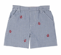 Florence Eiseman Baby / Toddler Boys Navy Blue Check Seersucker Shorts - Embroidered Red Anchors