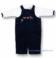 Florence Eiseman Baby / Toddler Boys Navy Blue Corduroy Longall with Plaid Train and Embroidered Polo Shirt