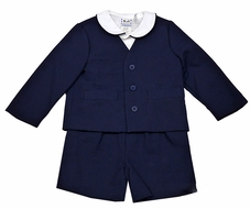 Florence Eiseman Baby / Toddler Boys Navy Blue Pique Eton Suits with Shirt