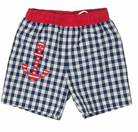 Florence Eiseman Baby / Toddler Boys Navy Blue / White Check Supplex Swim Trunks with Red Anchor