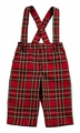 Florence Eiseman Baby / Toddler Boys Red / Black Christmas Plaid Pants - Removable Suspenders