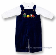 Florence Eiseman Baby / Toddler Boys Royal Blue Longall with Teddy Bear Train and White Polo Shirt - VELVET