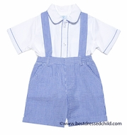 Florence Eiseman Baby / Toddler Boys Royal Blue Seersucker Dressy Suspender Shorts Outfit