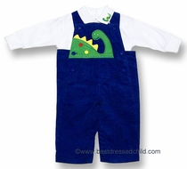 Florence Eiseman Baby / Toddler Boys Royal Blue Wide Wale Corduroy / Green Dinosaur Longall with Shirt