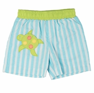 Florence Eiseman Baby / Toddler Boys Turquoise Stripe Supplex Swim Trunks with Green Turtle Pocket