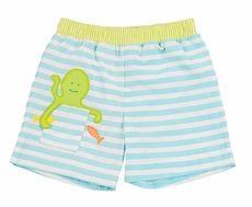 Florence Eiseman Baby / Toddler Boys Turquoise Striped Octopus Swim Trunks