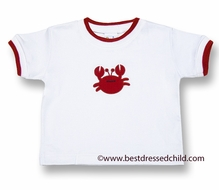 Florence Eiseman Baby / Toddler Boys White Cotton Shirt with Red Crab