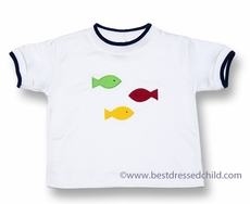 Florence Eiseman Baby / Toddler Boys White Cotton Shirt with Three Primary Color Fish