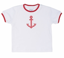 Florence Eiseman Baby / Toddler Boys White Cotton Tee Shirt with Red Anchor