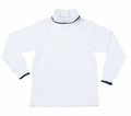 Florence Eiseman Baby / Toddler Boys White Cotton Turtleneck Shirt - Navy Blue Tipping