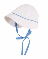 Florence Eiseman Baby / Toddler Boys White Pique Sun Hat with Blue Trim