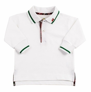 Florence Eiseman Baby / Toddler Boys White Polo Shirt with Green / Navy Tipping & Embroidery Train