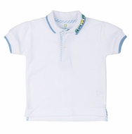 Florence Eiseman Baby / Toddler Boys White Polo Shirt with Train on Collar