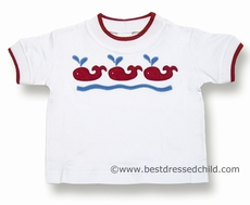 Florence Eiseman Baby / Toddler Boys White Shirt with Three Red Whales