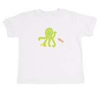 Florence Eiseman Baby / Toddler Boys White Tee Shirt with Green Octopus