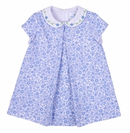 Florence Eiseman Baby / Toddler Girls Blue Floral Pique Dress with Embroidered Collar