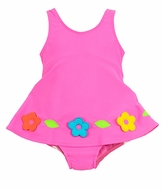 Florence Eiseman Baby / Toddler Girls Bright Pink Color Chart Swimsuit with Overskirt