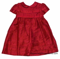 Florence Eiseman Baby / Toddler Girls Christmas Red Dupioni Silk Dress with Tucks and Collar