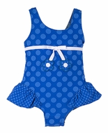 Florence Eiseman Baby / Toddler Girls Periwinkle Blue Jacquard Dots Skirted Swimsuit