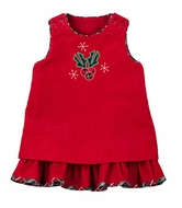 Florence Eiseman Baby / Toddler Girls Reversible Red Corduroy Jumper - Flowers / Christmas Holly